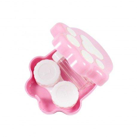 Boite kawaii à lentilles de contact Patte de chat rose