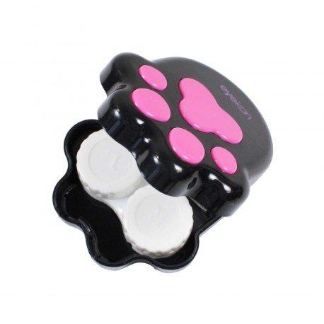 Boite kawaii à lentilles de contact Patte de chat noir & fushia