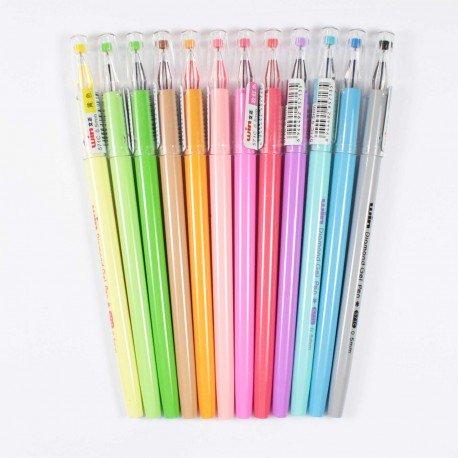 Kit 12 stylos à encre gel couleurs