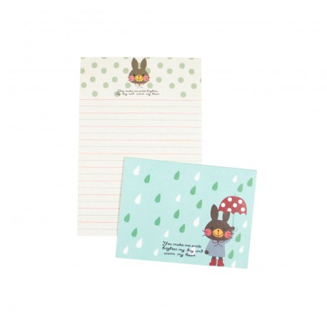 Mini papier à lettre & enveloppe assorti Lapin avec un parapluie sous les gouttes de pluie