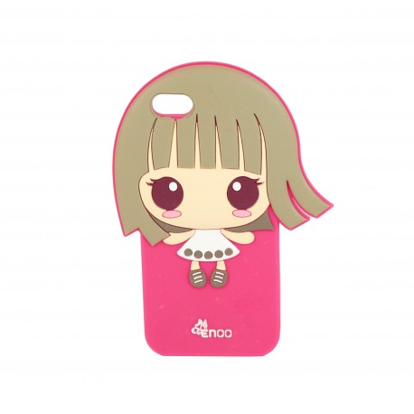 Coque étui téléphone souple pour iphone 5-5s et iphone SE fille kawaii cheveux dans les vents couleur fushia
