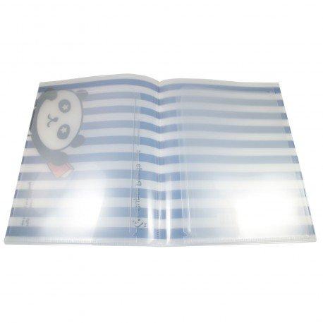 Protège documents kawaii A4 Super Panda rayure bleu