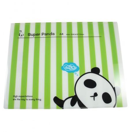 Protège documents kawaii A4 Super Panda rayure vert