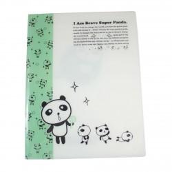Protège documents kawaii A4 Super Panda vert