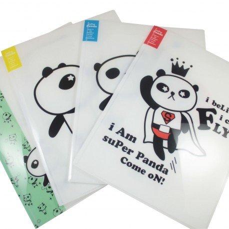 Protège documents kawaii A4 Super Panda bleu