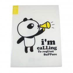 Protège documents kawaii A4 Super Panda jaune