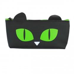 Trousse chat noir - yeux verts