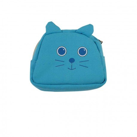 Porte monnaie chat bleu