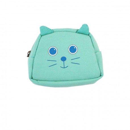 Porte monnaie chat vert menthe