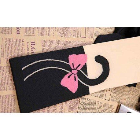 Collant kawaii chat noir mignon noeud de papillon rose