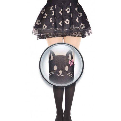 Collant kawaii chat noir mignon noeud de papillon rose