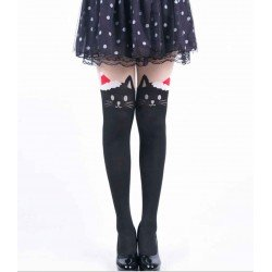 Collant kawaii chat noir avec bonnet de noël rouge