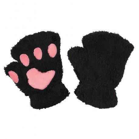 Mitaines peluche kawaii Pattes de Chat noires