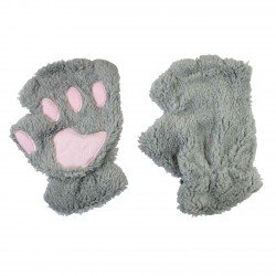 Mitaines peluche kawaii Pattes de Chat grises