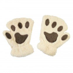Mitaines peluche kawaii Pattes de Chat beiges