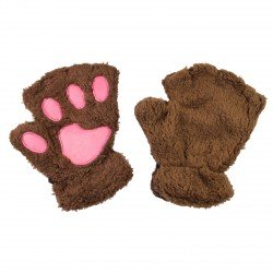 Mitaines peluche kawaii Pattes de Chat brunes