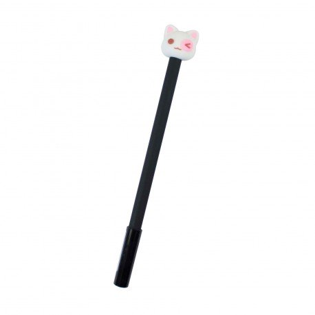 Stylo kawaii Chat blanc et l'oeil rose