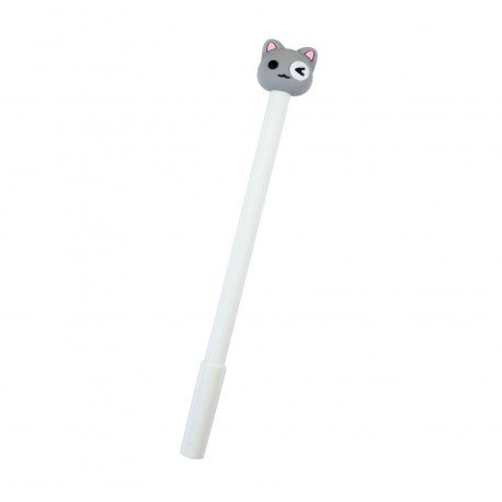 Stylo kawaii Chat gris et l'oeil blanc