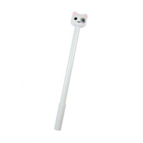 Stylo kawaii Chat blanc et l'oeil gris