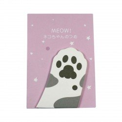 Memo repositionnable patte de chat gris et blanc