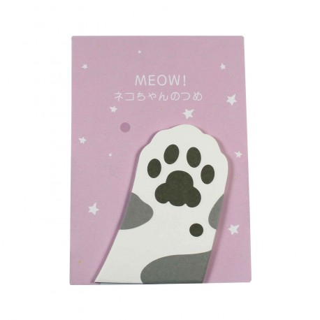 Memo repositionnable patte de chat gris et blanc