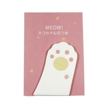 Memo repositionnable patte de chat blanc et rose