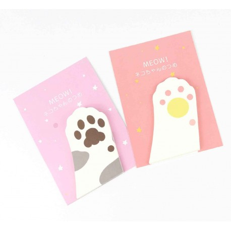 Memo repositionnable patte de chat blanc et rose