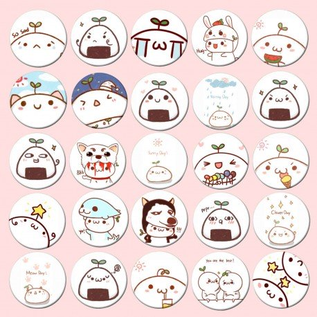 Lot de 5 badges kawaii Emoji Tango