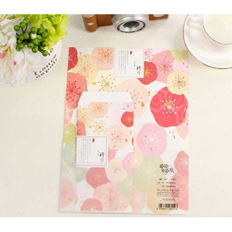 Grand papier à lettre & enveloppe assorti motif traditionnel fleur japonais rose