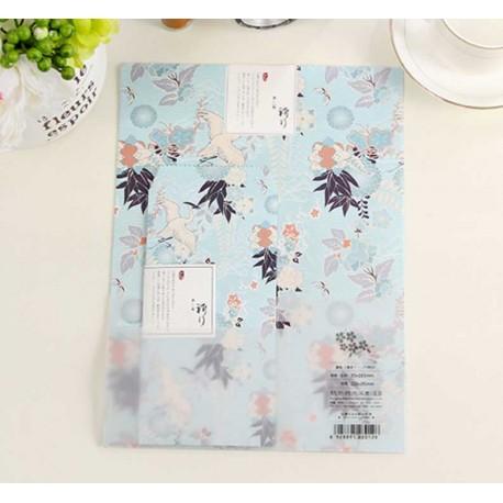 Grand papier à lettre & enveloppe assorti bleu grues japonais