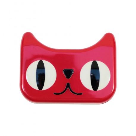 Boite à lentilles de contact chat rouge