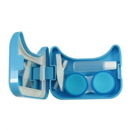 Boite à lentilles de contact chat bleu