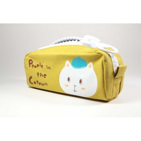 Trousse chat gris en relief