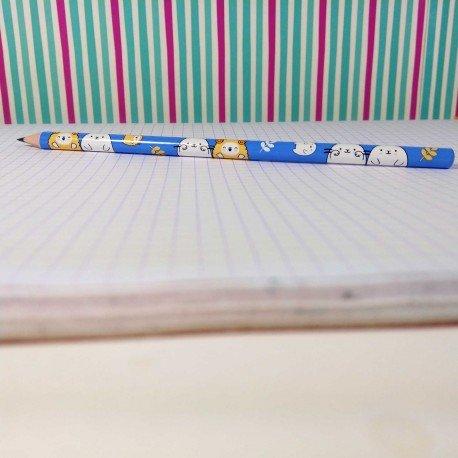 Crayon HB bleu panda et chat