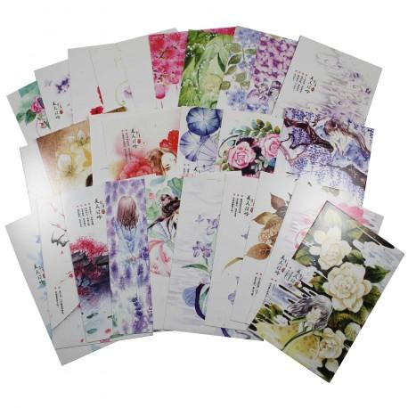 Lot de 5 cartes postales - filles et fleurs