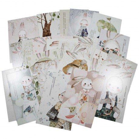 Lot de 5 cartes postales - lapin