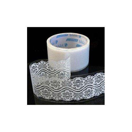 Rouleau adhésif motif dentelle fleur blanche
