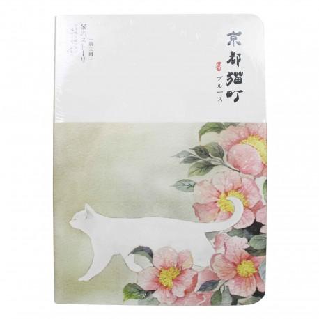 Carnet épais chat blanc et fleurs de camélia