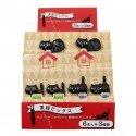Lot de 6 minis fourchettes piques chat noir