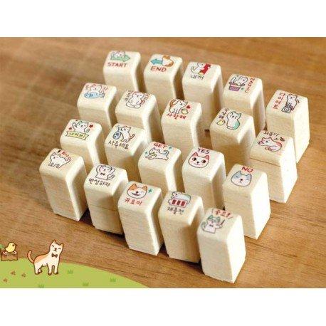 Kit de 20 tampons kawaii chat avec encre