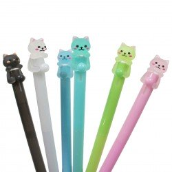 Stylo kawaii chat et balle