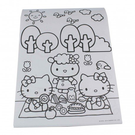 un cahier de coloriage kawaii avec les dessins de sanrio. Black Bedroom Furniture Sets. Home Design Ideas