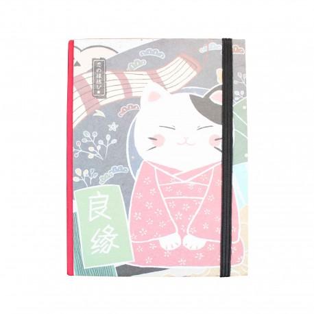 Carnet épais neko en kimono