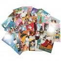 Lot de 5 cartes postales - chat en kimono