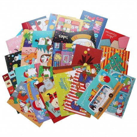 Lot de 5 cartes postales - chat noël