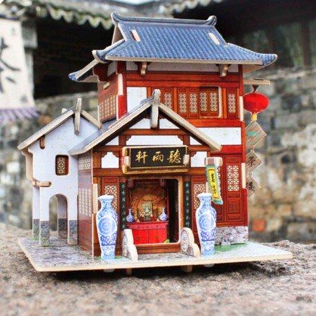 Puzzle en bois 3D maisonnette salon de thé chinois