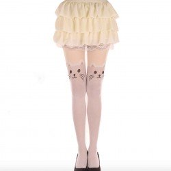 Collant kawaii chat blanc