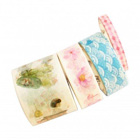 Lot de 4 washi tape sakura et vague