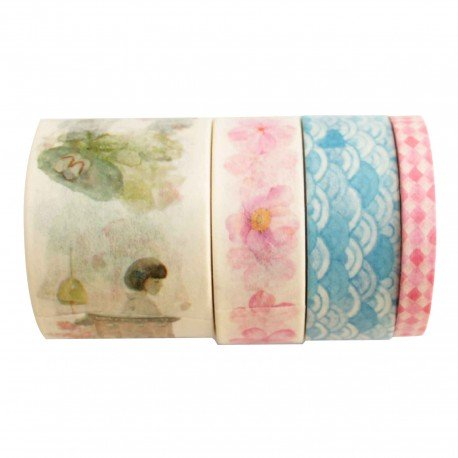 Lot de 4 washi tape sakura et vague