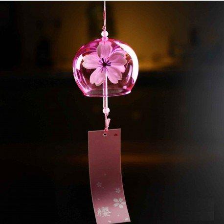 Grand carillon en verre Furin rose